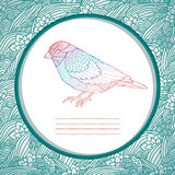 Beautiful card with hand drawn bird Stock Photography