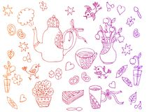 Beautiful card with hand drawn elements for tea party Stock Image
