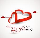 Beautiful card  heart for 14 february stylish text Stock Photos