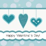Beautiful card with hearts. Beautiful card with 3 hearts Royalty Free Stock Photography