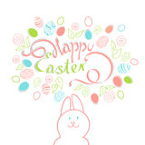 Beautiful card with the inscription: happy Easter on the backgro. Und of the Doodle Easter eggs, flowers and leaves with the Easter Bunny in cartoon style on cut Royalty Free Stock Photography