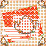Beautiful card invitation for afternoon tea. Home comfort, kind, attracting atmosphere in warm tones of red patterned background with space for text Stock Images