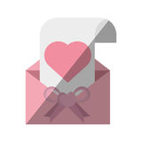 Beautiful card invitation wedding paper heart envelope bow. Vector illustration Royalty Free Stock Photo