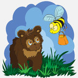 Beautiful card with little bear and bee. Vector illustration, Beautiful card with little brown bear and bee on lawn vector illustration