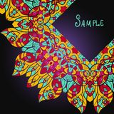Beautiful card with mandala. Ethnic paisley Stock Photos