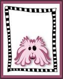 Beautiful card with pink cartoon monster Stock Photo