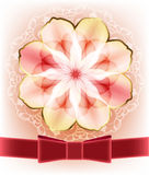 Beautiful card with a pink flower. Stock Photo