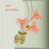 Beautiful card with pink lilies Royalty Free Stock Photos