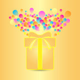 Beautiful card with present and colorful balloon Royalty Free Stock Photography