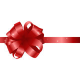 Beautiful card with red gift bow and ribbon. Royalty Free Stock Images