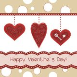 Beautiful card with 3 red hearts. Card with 3 red hearts Stock Photo
