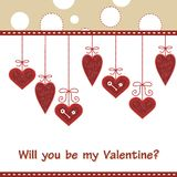 Beautiful card with red hearts. Cute card with red hearts Stock Photography