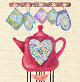 Beautiful card with red teapot on the fire,hearts and potholders. Kitchen love. Beautiful card with red teapot on the fire, hearts and potholders. Cute teapot Stock Photography