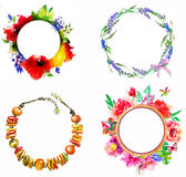 Beautiful card with a 4 round floral watercolor frames Royalty Free Stock Photo