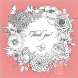 Beautiful card with a round floral wreath of vintage garden. Royalty Free Stock Image