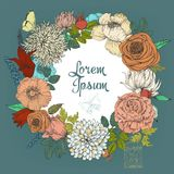 Beautiful card with a round floral wreath of vintage garden. Royalty Free Stock Photo