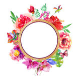 Beautiful card with a round floral wreath of watercolor plants. Stock Photos