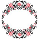 Beautiful card with a round summer wreath of different flowers folk art floral ornament Vintage elegant wedding invitation Red Bla Royalty Free Stock Photos