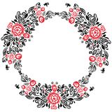 Beautiful card with a round summer wreath of different flowers folk art floral ornament Vintage elegant wedding invitation Red Bla Royalty Free Stock Image