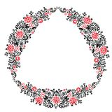 Beautiful card with a round summer wreath of different flowers folk art floral ornament Vintage elegant wedding invitation Red Bla Royalty Free Stock Photo