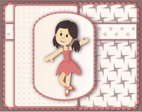 Beautiful card in scrapbooking style with graceful ballerina girl Royalty Free Stock Photo