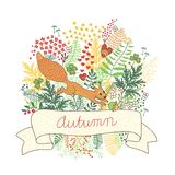 Beautiful card with a squirrel Stock Images