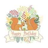 Beautiful card with squirrels. Happy birthday. Royalty Free Stock Photography