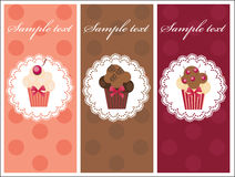 Beautiful card with sweet cupcakes. Dessert set banners design invitation background Royalty Free Stock Photography