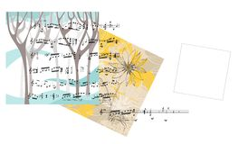 Beautiful card with trees, flower, musical notes and place for text. Royalty Free Stock Image