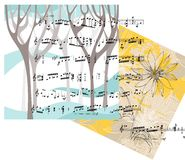Beautiful card with trees, flower and musical notes. Stock Images
