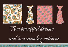 Beautiful card with two summer female dresses. Royalty Free Stock Images