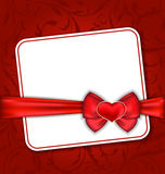 Beautiful card for Valentine Day with red heart an. Illustration beautiful card for Valentine Day with red heart and bow - vector Royalty Free Stock Photos