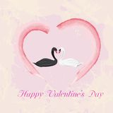 Beautiful card for Valentine's Day. Beautiful card for Valentine's Day with swans Royalty Free Stock Images