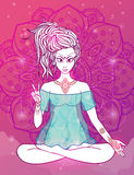 Beautiful card vector. Girl meditates in the lotus position, peace gesture. Geometric element hand drawn. Psychedelic Poster in the style of 60's, 70's. Sacred royalty free illustration