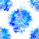 Beautiful card vector. Happy New Year Card with Fir ornamental 2017. Holiday Vector illustration. Watercolor Blue Royalty Free Stock Photo