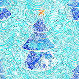 Beautiful card vector. Happy New Year Card with Fir ornamental 2017. Holiday Vector illustration. Watercolor blue Stock Images