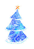 Beautiful card vector. Happy New Year Card with Fir ornamental 2017. Holiday Vector illustration. Watercolor blue Royalty Free Stock Photography
