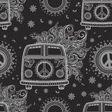 Beautiful card vector. Hippie vintage car a minivan sign popular for flower children Love and Music, woodstock with hand pattern fonts textile background and Royalty Free Stock Images
