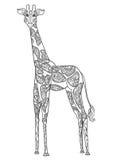 Beautiful card vector. Ornament giraffe vector. Beautiful illustration giraffe for design, print clothing, stickers, tattoos, Adult Coloring book with giraffe Stock Photo