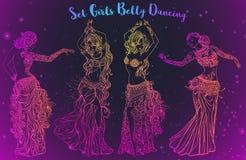 Beautiful card vector. Ornament beautiful card with girl belly dance. Mehndi element hand drawn. Oriental dance, yoga, india, arabic Western dance technique Stock Photos