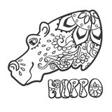 Beautiful card vector. Ornament hippo vector. Hand drawn animal illustration. Hippo lace ornamental Vector Illustration