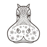 Beautiful card vector. Ornament  hippo vector. Beautiful illustration hippopotamus for design, print clothing, stickers, tattoos, Adult Coloring book. Hand drawn Stock Image
