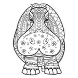 Beautiful card vector. Ornament hippo vector. Beautiful illustration hippopotamus for design, print clothing, stickers, tattoos, Adult Coloring book. Hand drawn Stock Illustration