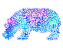 Beautiful card vector. Ornament hippo vector. Beautiful illustration hippopotamus for design, print clothing, stickers, tattoos, Adult Coloring book. Hand drawn Royalty Free Illustration