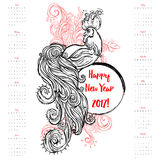 Beautiful card vector. Zodiac Signs of Rooster. Chinese Happy New year 2017 beautiful illustration ornament feather. Dates calendar. Cock vector Stock Images