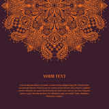 Beautiful Card With Vintage Hand-drawn Hetailed Round Mandala Royalty Free Stock Images