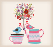 Beautiful card with watercolor flowers. bottle with birds in love.  Royalty Free Stock Photography