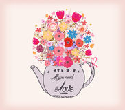 Beautiful card with watercolor flowers. Cup of tea with love. Royalty Free Stock Images