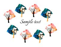 Beautiful card with watercolor trees on white background Royalty Free Stock Photography