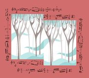 Beautiful card with winter forest and musical notes. Stock Photo